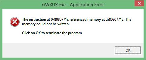 come rimuovere GWXUX.exe Applicazione errore