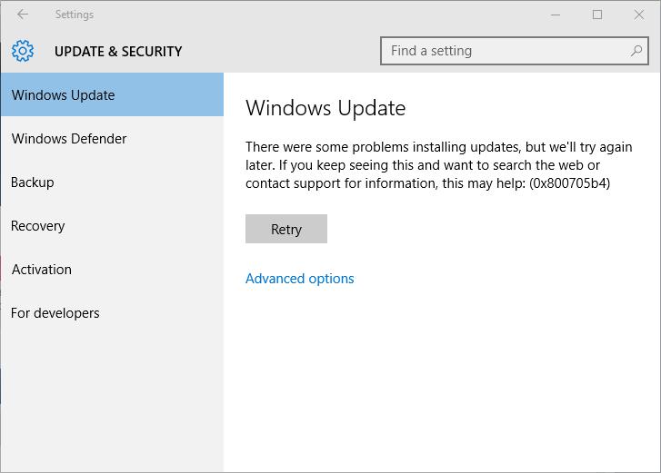 rimuovere Windows 10 aggiornamento errore 0x800705b4