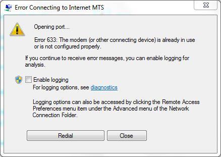 Il modem o altro dispositivo di connessione ha riportato una finestra di errore 10