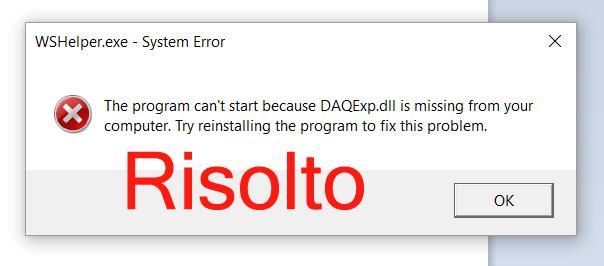 la riparazione Daqexp.dll manca