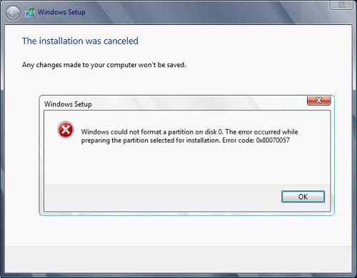 Windows 10 aggiornare 0x80070057