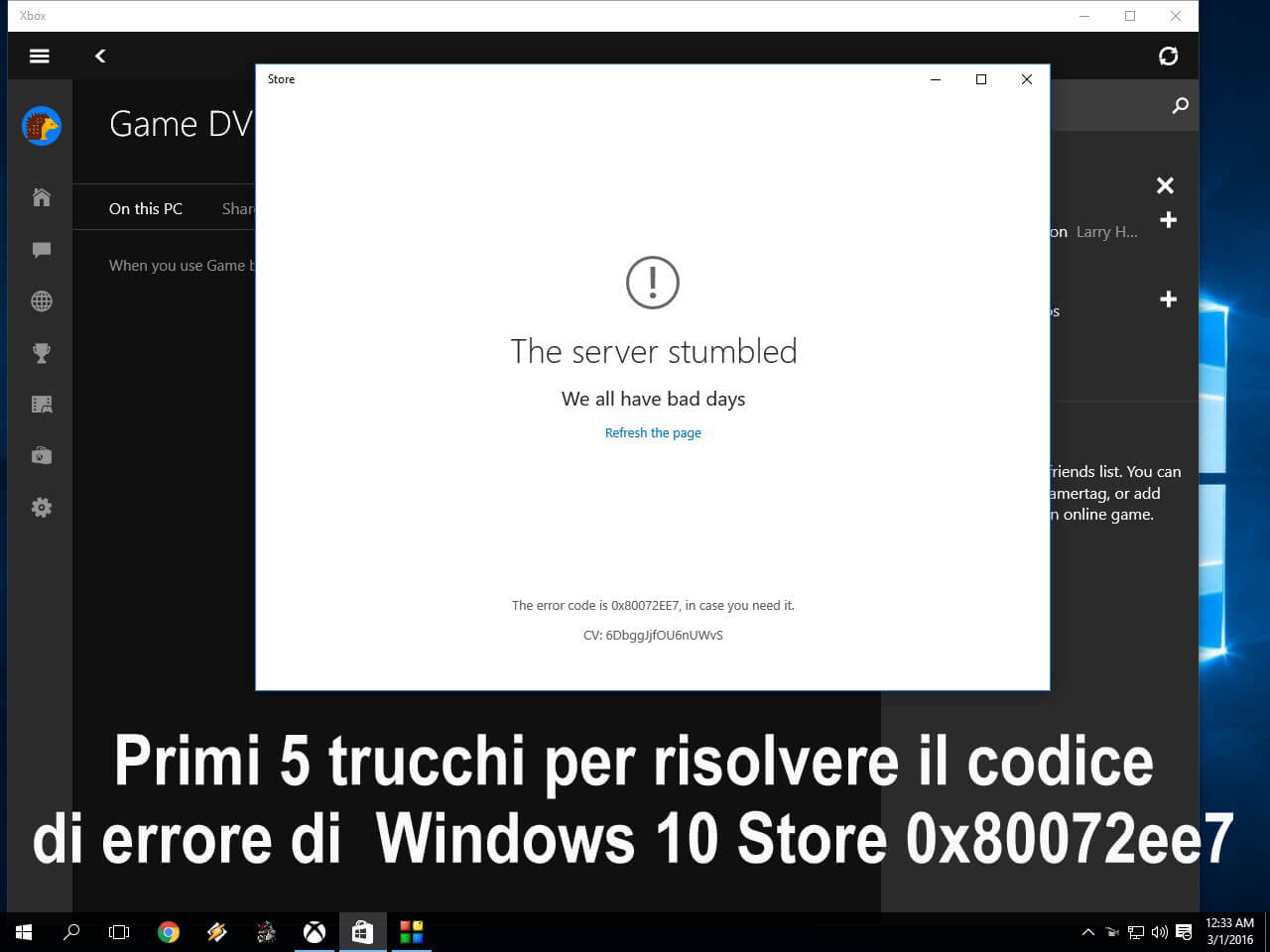 Store error code 0x80072ee7