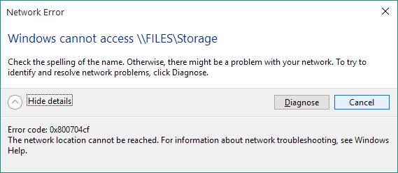eliminare l'errore di rete 0x800704cf