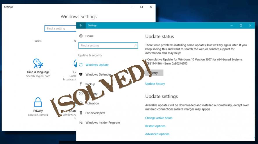 Aggiornamento errore 0x80246010 su Windows 10