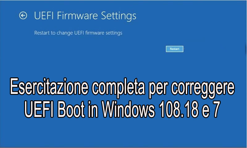 rimuovi UEFI Boot in Windows 10