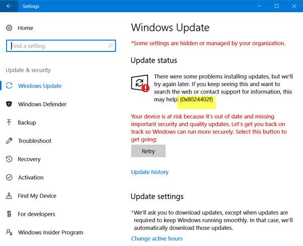 aggiornamento di Windows 10 0x8024402f