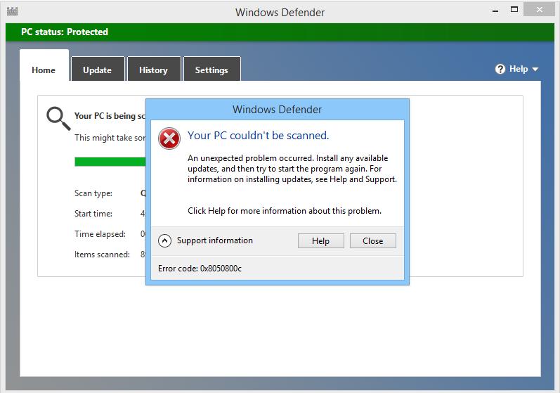 rimuovere il codice errore Windows Defender 0x8050800c