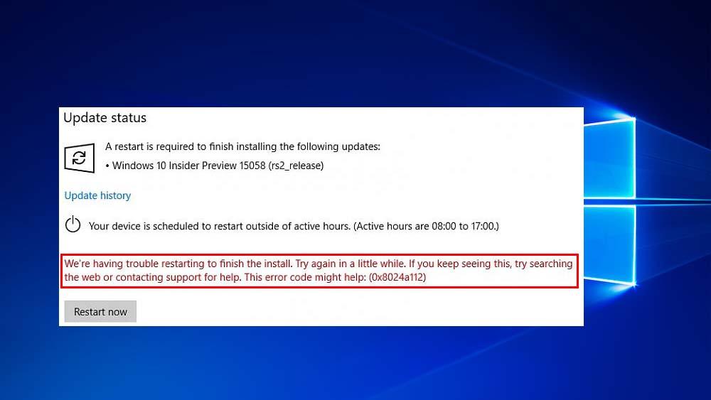 eliminare l'errore di aggiornamento di Windows 10 0x8024a112