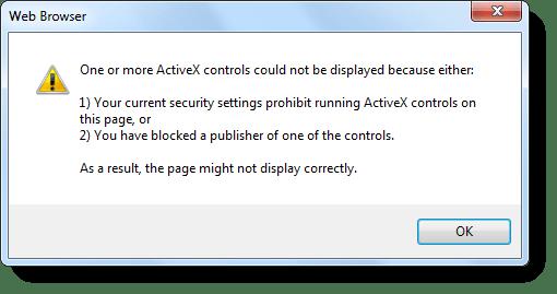 """ActiveX, controlli ActiveX, Correzione """"Le attuali impostazioni di sicurezza vietano l'esecuzione di ActiveX"""""""