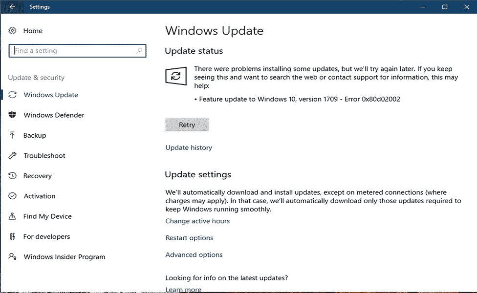 rimuovere l'errore di Windows Update 0x80d02002