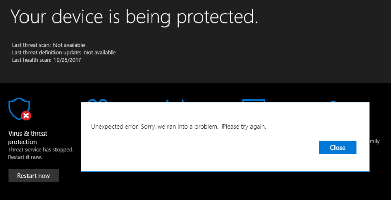 ripara Windows 10 Defender