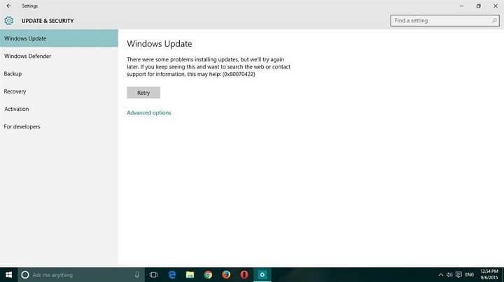 riparare l'errore di aggiornamento di Windows 10 0x80070422
